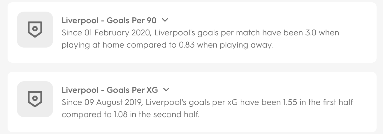 An example of a couple of Insight stories looking at Liverpool's goals and xG per game.