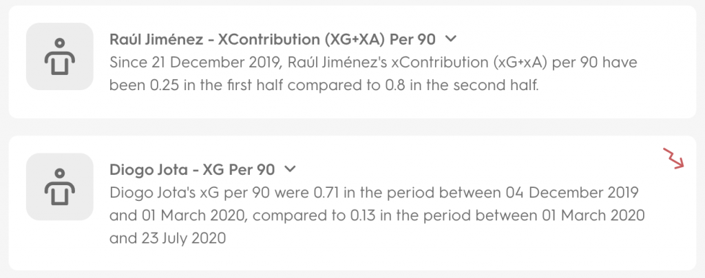 An example of a couple of Insight stories looking at Raúl Jiménez's XContribution and Diogo Jota's xG per 90.