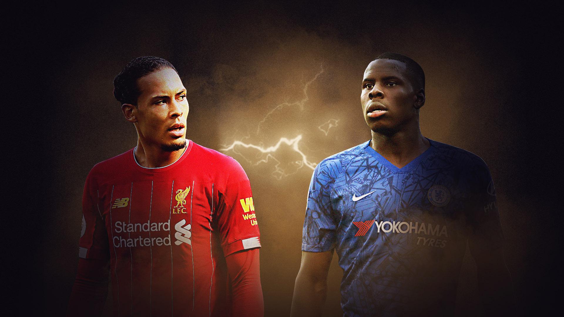 Kurt Zouma of Chelsea and Virgil van Dijk of Liverpool