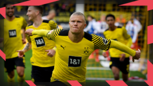 Erling Haaland celebrating with Borussia Dortmund team-mates